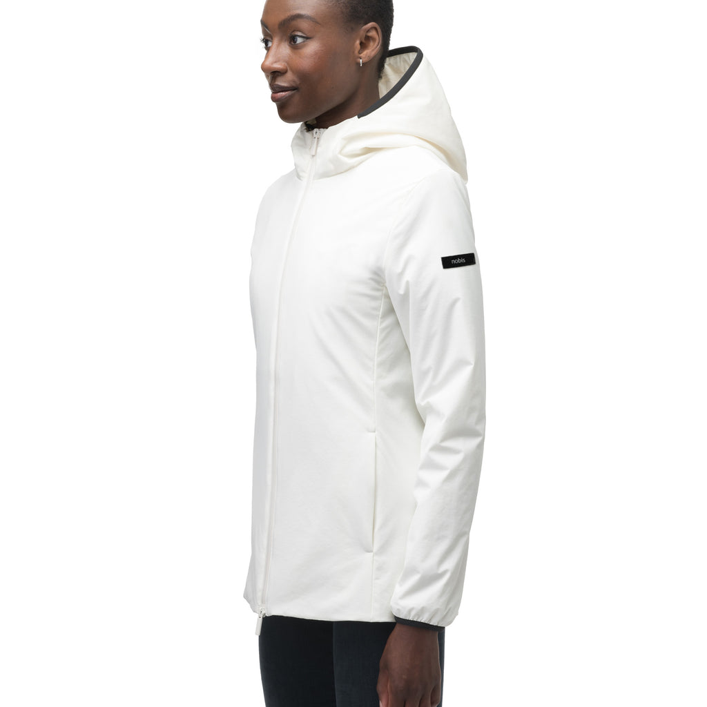Ladies hip length mid layer jacket with non-removable hood and two-way zipper in Chalk | color