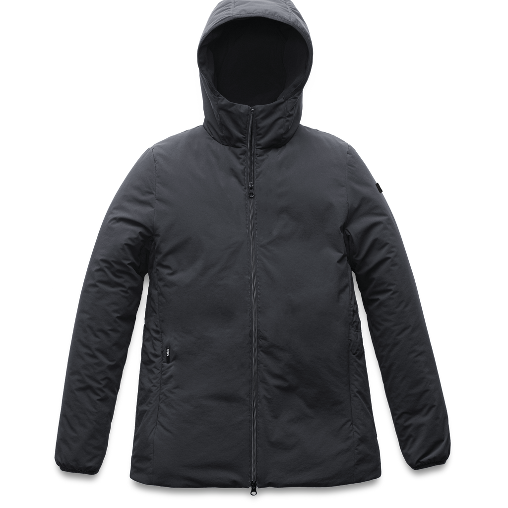 Ladies hip length mid layer jacket with non-removable hood and two-way zipper in Black | color