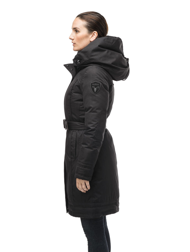 Women's Thigh length own parka with a furless oversized hood in CH Black| color