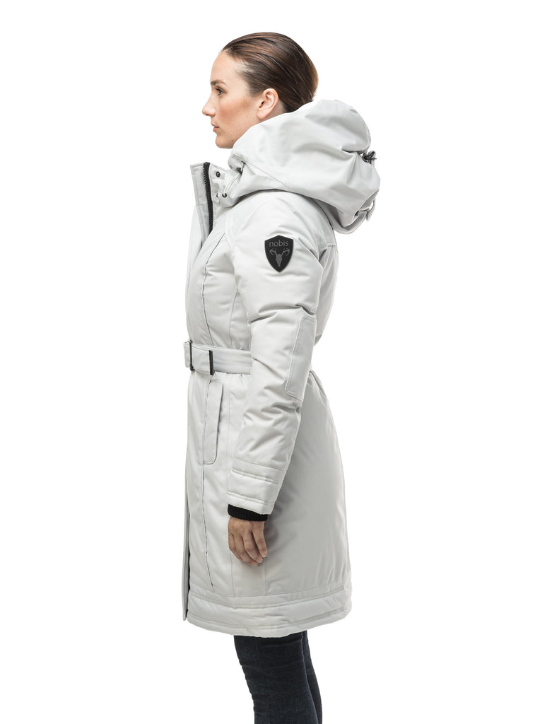Women's Thigh length own parka with a furless oversized hood in CH Light Grey| color