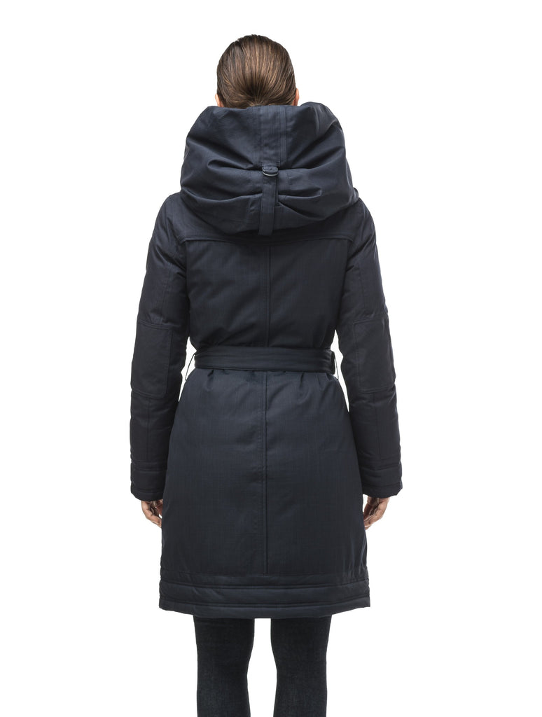 Women's Thigh length own parka with a furless oversized hood in CH Navy| color