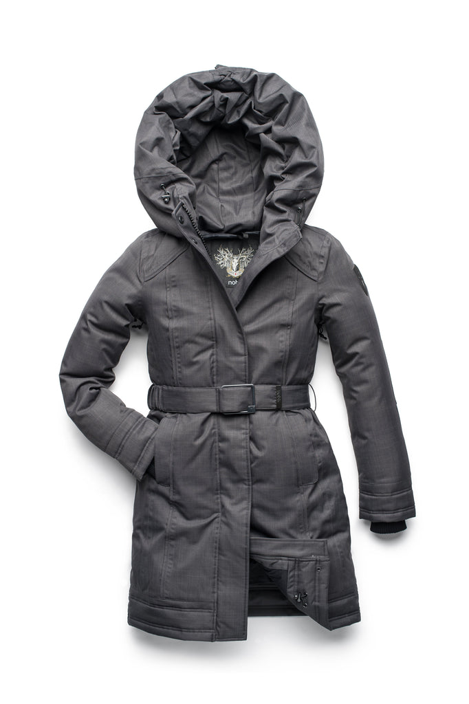 Women's Thigh length own parka with a furless oversized hood in CH Steel Grey| color
