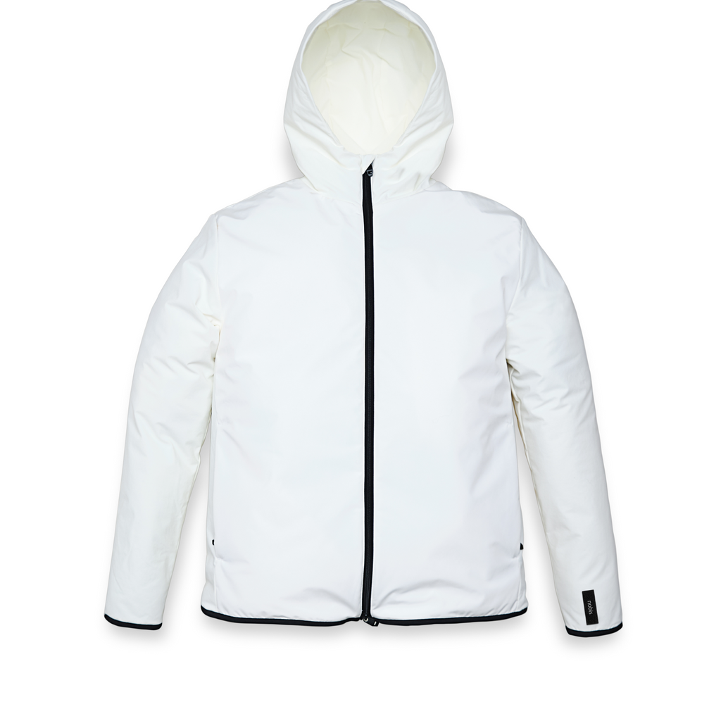 Men's hip length mid layer jacket with non-removable hood and two-way zipper in Chalk | color