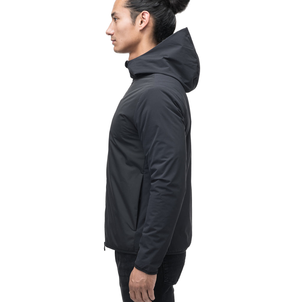 Men's hip length mid layer jacket with non-removable hood and two-way zipper in Black | color
