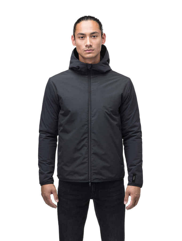Men's hip length mid layer jacket with non-removable hood and two-way zipper in Black| color