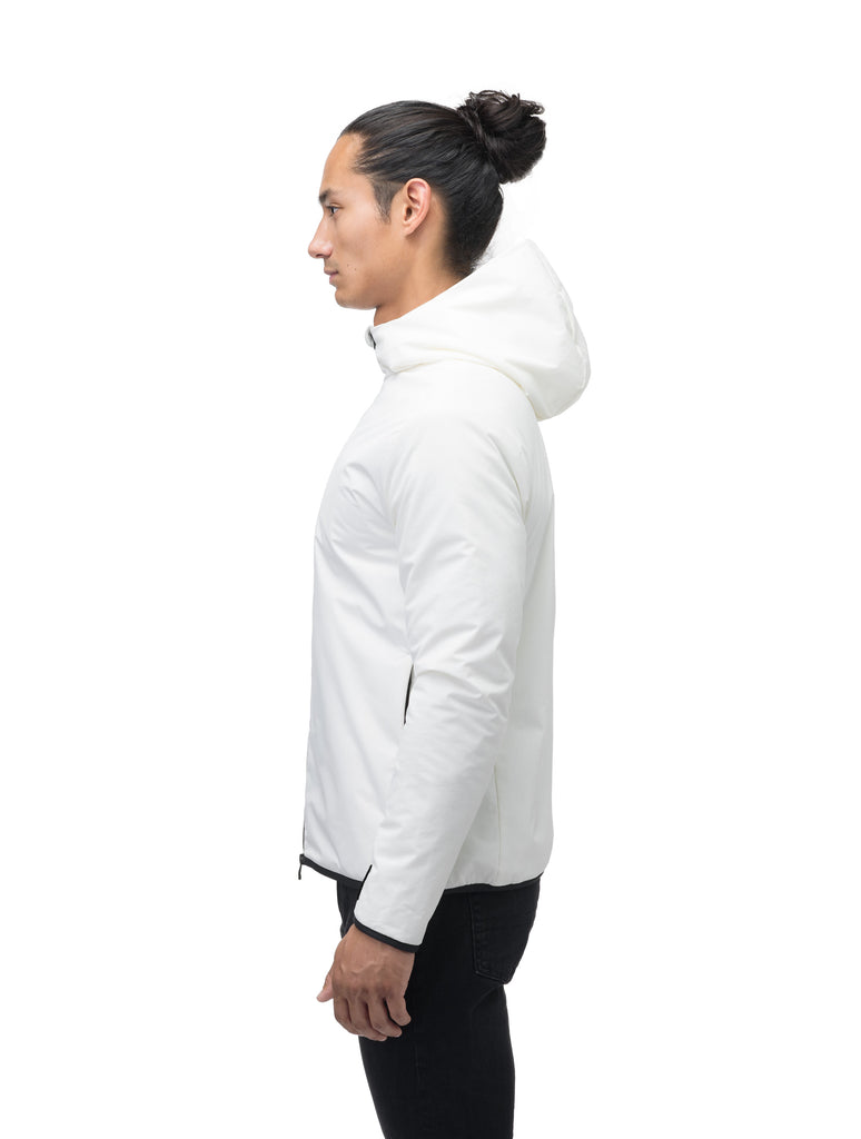 Men's hip length mid layer jacket with non-removable hood and two-way zipper in Chalk| color