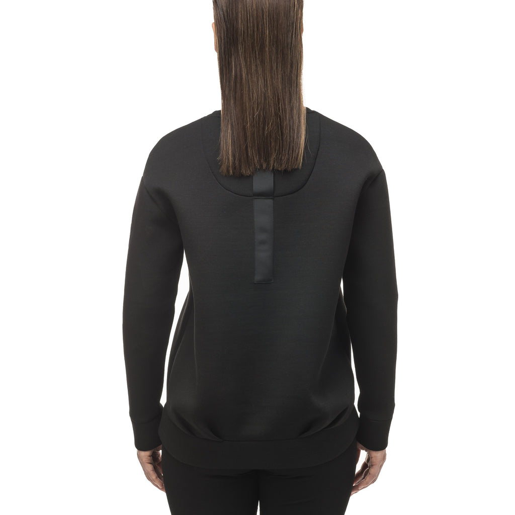Classic black women's crew neck pullover with fold over hem detail. | color
