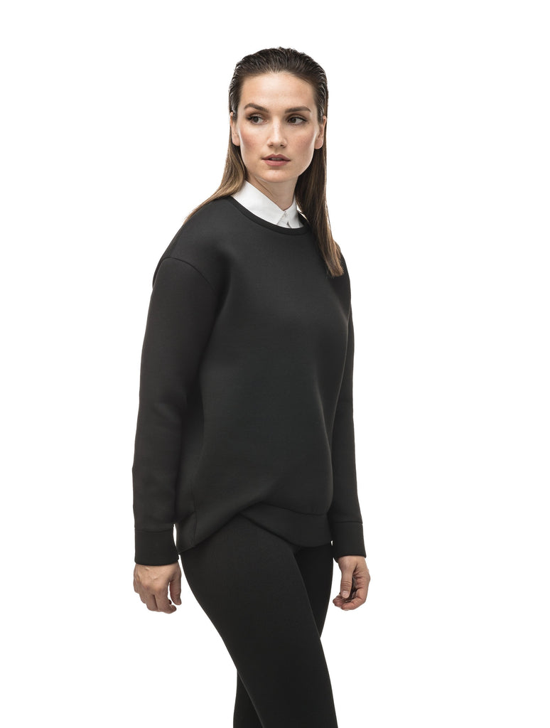 Classic black women's crew neck pullover with fold over hem detail.| color