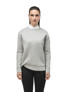 Classic women's crew neck pullover with fold over hem detail in Grey Melange