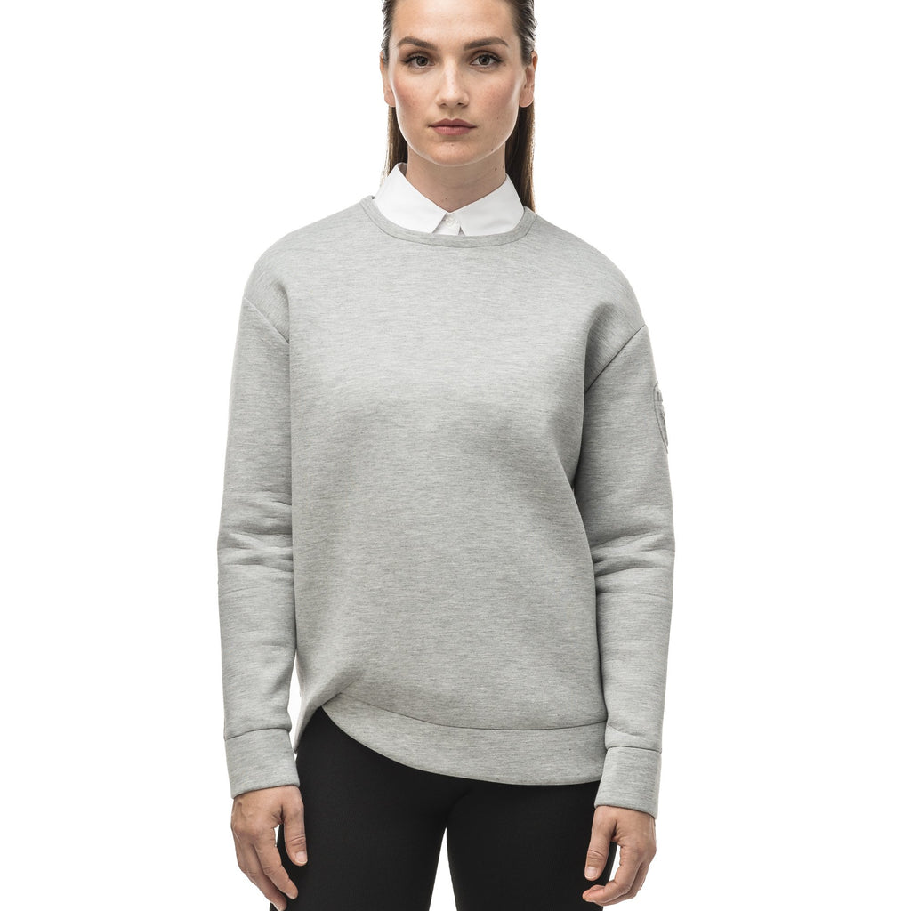 Classic women's crew neck pullover with fold over hem detail in Grey Melange | color