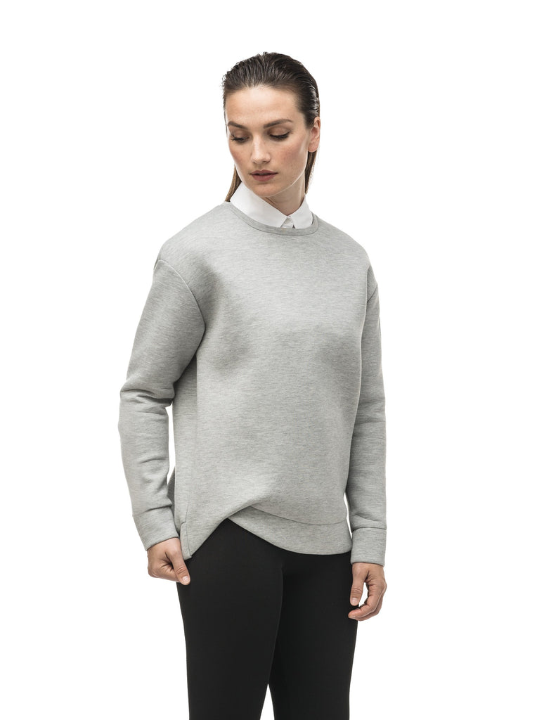 Classic women's crew neck pullover with fold over hem detail in Grey Melange| color
