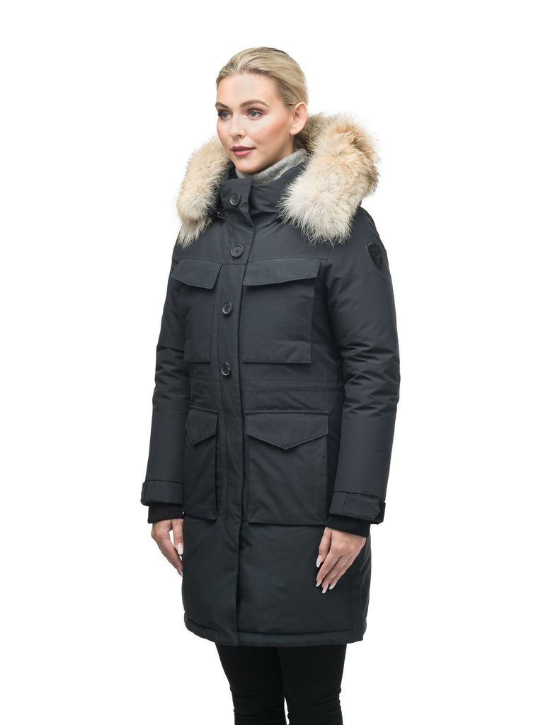 Women's knee length down filled parka with two chest patch pockets and two waist patch pockets in Black| color
