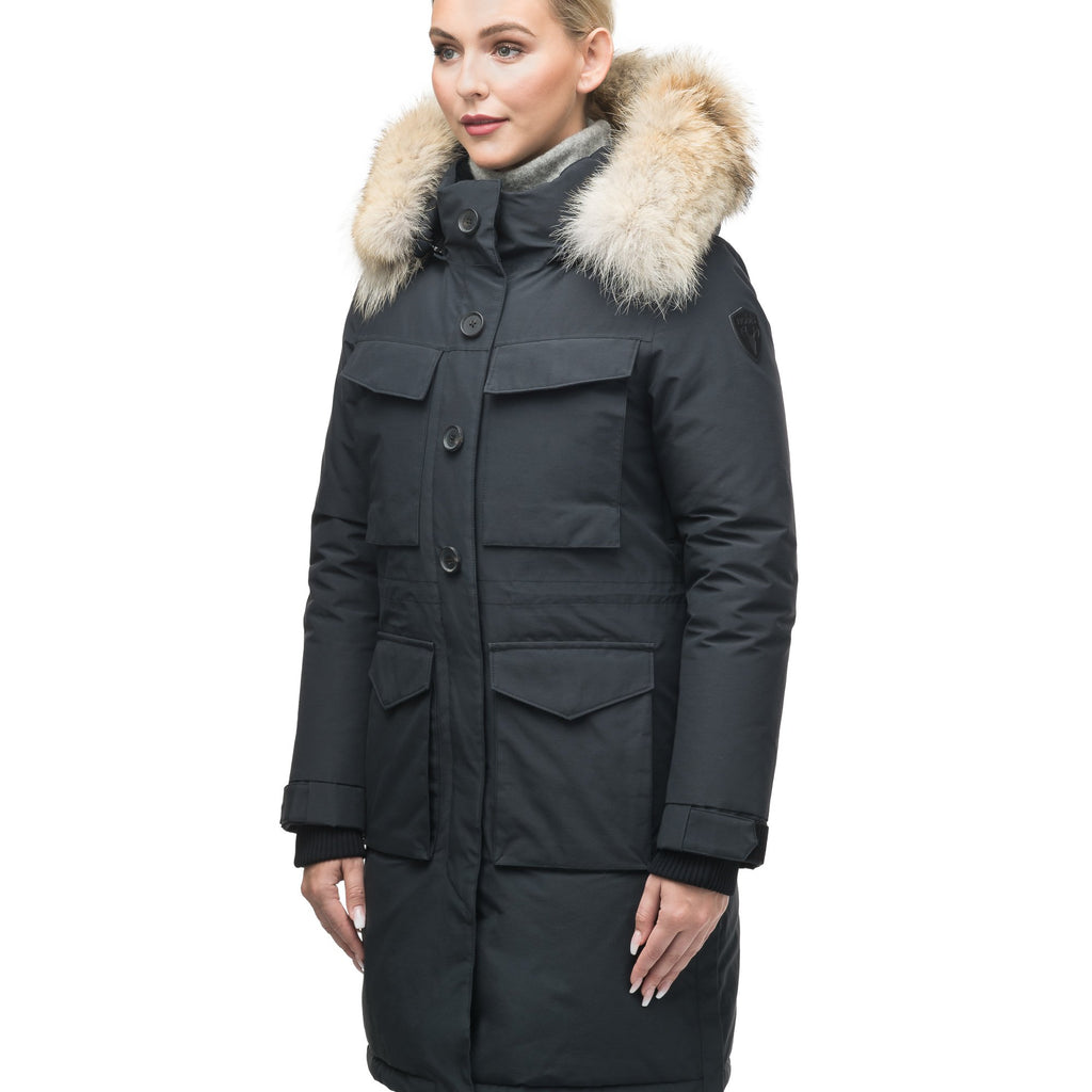 Women's knee length down filled parka with two chest patch pockets and two waist patch pockets in Black | color