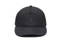 Unisex jersey 5-panel baseball hat with curved brim and adjustable strap at back in Black | color