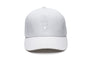 Unisex jersey 5-panel baseball hat with curved brim and adjustable strap at back in White | color