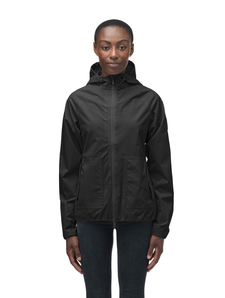 Women's hip length waterproof jacket with non-removable hood and two-way zipper in Black| color