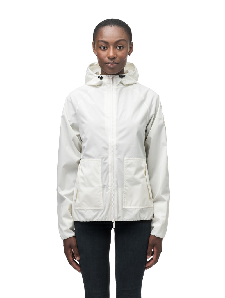 Women's hip length waterproof jacket with non-removable hood and two-way zipper in Chalk| color
