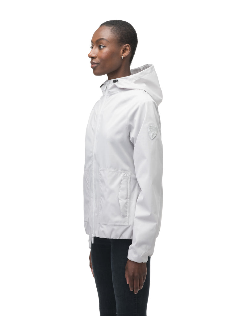 Women's hip length waterproof jacket with non-removable hood and two-way zipper in Light Grey| color