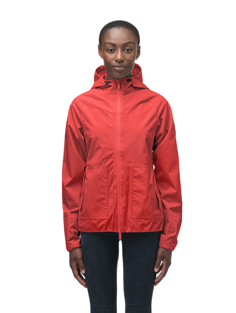 Women's hip length waterproof jacket with non-removable hood and two-way zipper in Vermillion| color