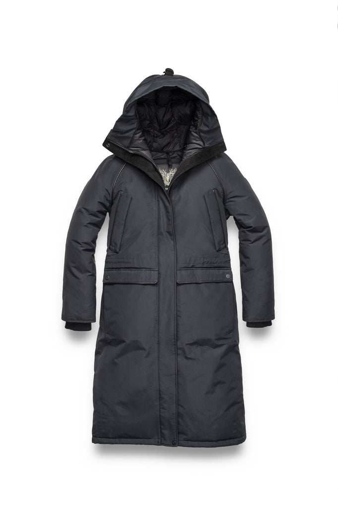 Ladies knee length down-filled parka with four exterior pockets, and a non-removable hood with detachable fur trim in Black| color