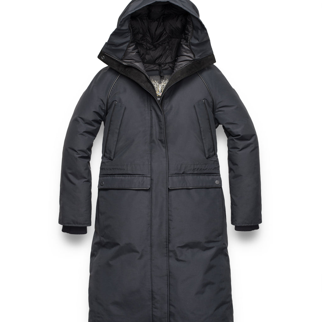 Ladies knee length down-filled parka with four exterior pockets, and a non-removable hood with detachable fur trim in Black | color