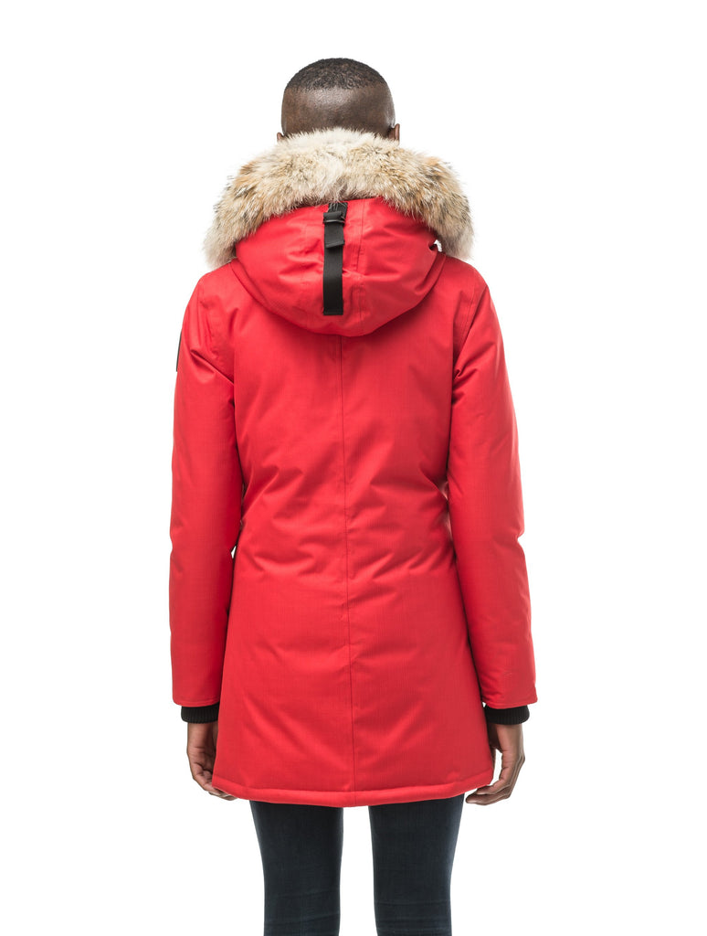 Women's down filled parka that sits just below the hip with a clean look and two hip patch pockets in CH Red| color