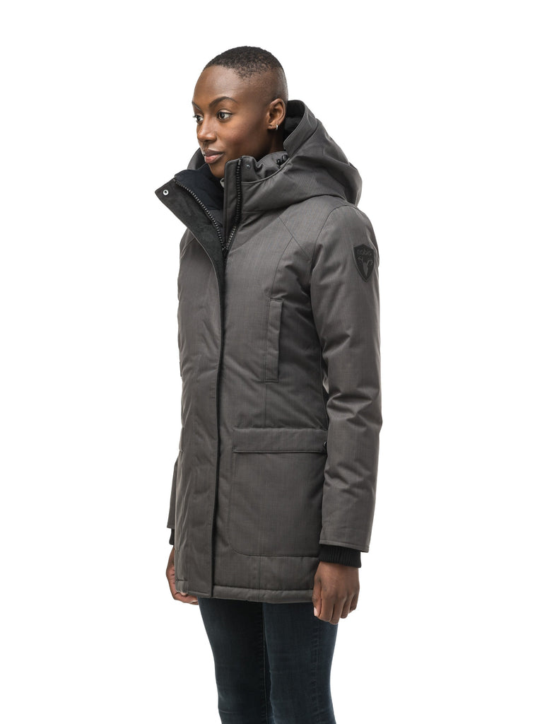 Women's down filled parka that sits just below the hip with a clean look and two hip patch pockets in CH Steel Grey| color