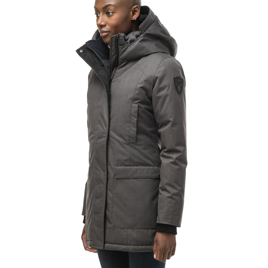 Women's down filled parka that sits just below the hip with a clean look and two hip patch pockets in CH Steel Grey | color