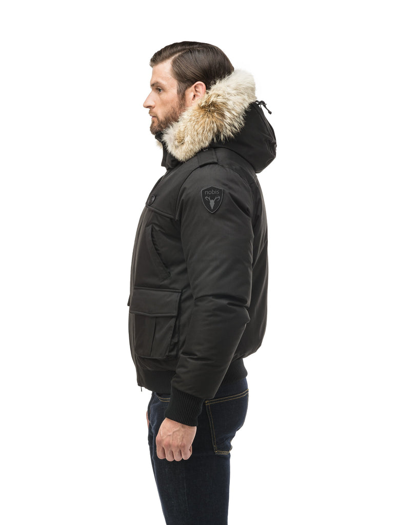 Men's down filled bomber that sits just above the hips with a completely removable hood that's windproof, waterproof, and breathable in Black| color