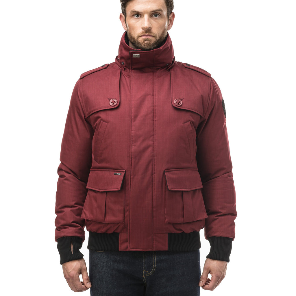 Men's down filled bomber that sits just above the hips with a completely removable hood that's windproof, waterproof, and breathable in CH Cabernet | color