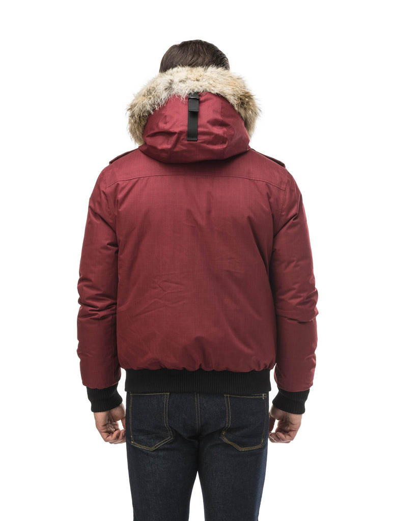 Men's down filled bomber that sits just above the hips with a completely removable hood that's windproof, waterproof, and breathable in CH Cabernet| color