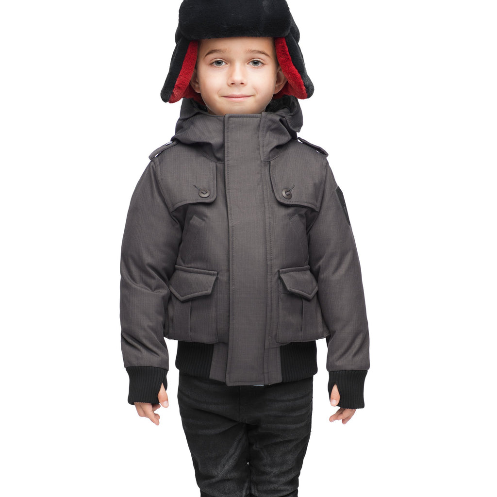 Kid's waist length down bomber jacket with fur trim hood in CH Steel Grey | color