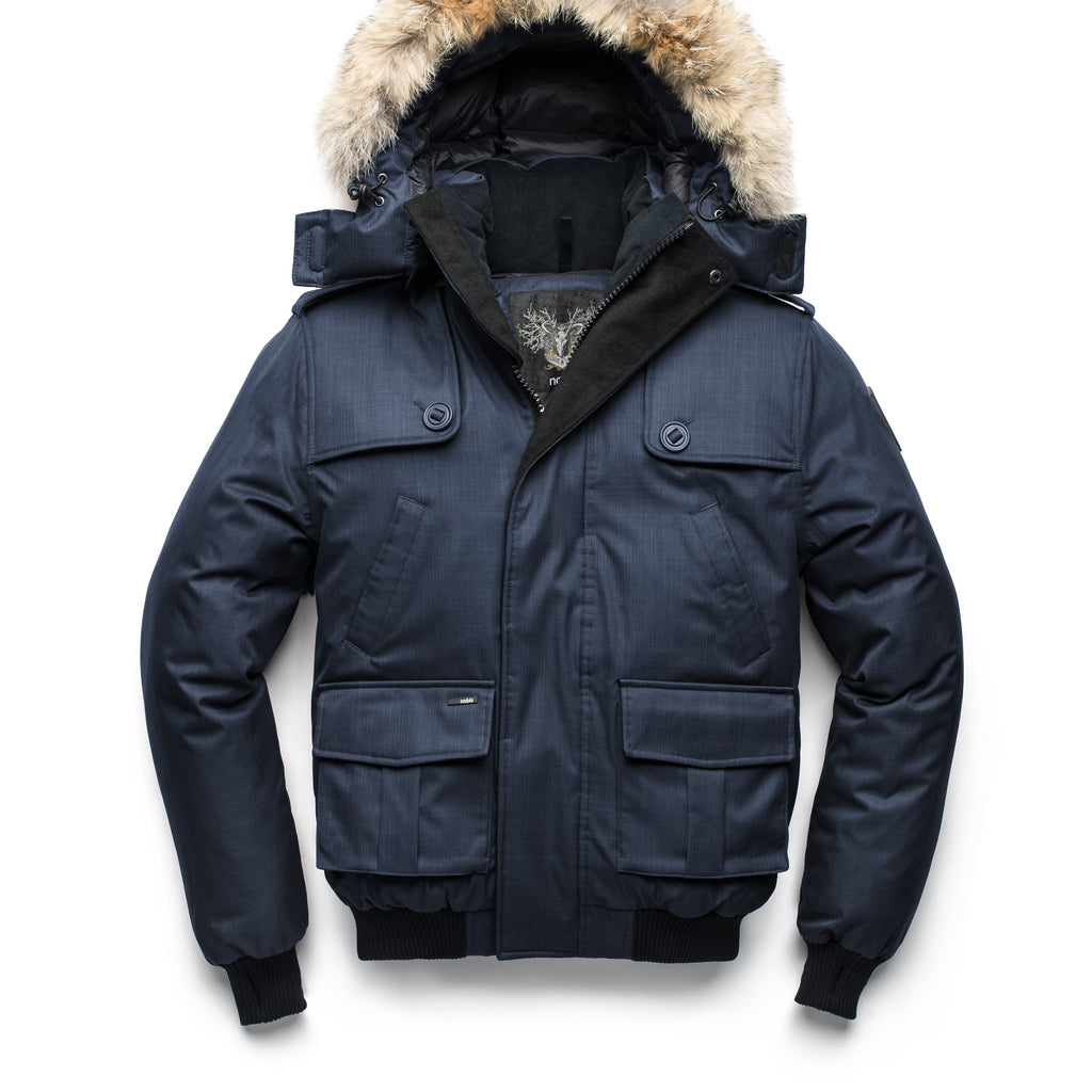 Men's down filled bomber that sits just above the hips with a completely removable hood that's windproof, waterproof, and breathable in CH Navy | color