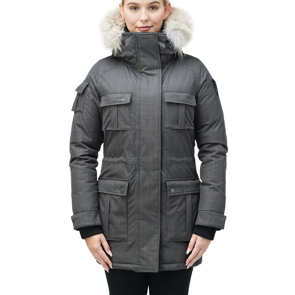 Women's down filled thigh length parka with four pleated patch pockets and an adjustable waist in CH Steel Grey | color
