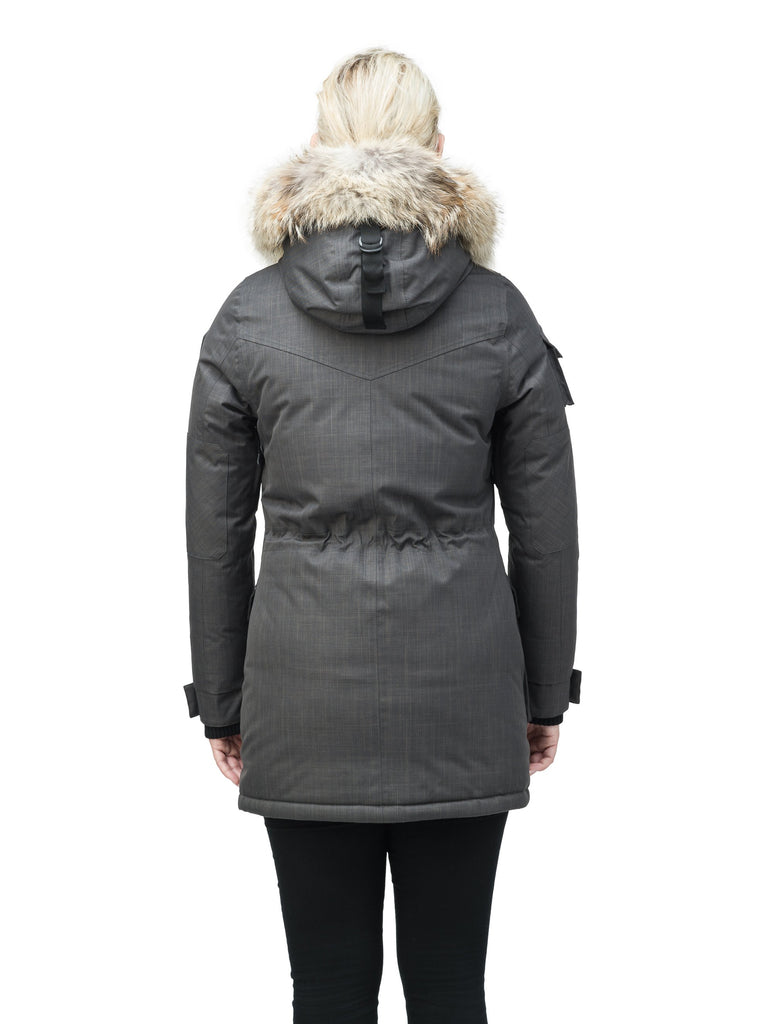 Women's down filled thigh length parka with four pleated patch pockets and an adjustable waist in CH Steel Grey| color