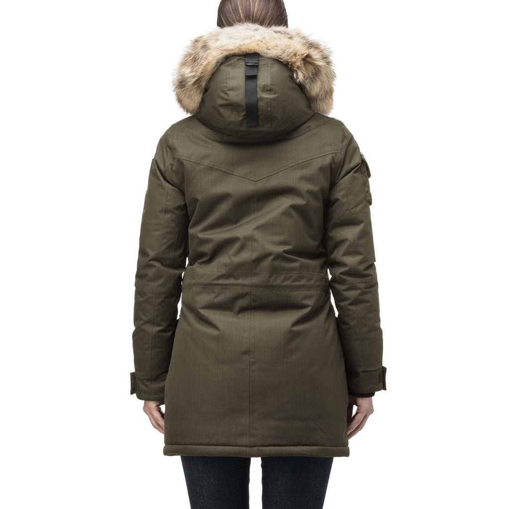 Women's down filled thigh length parka with four pleated patch pockets and an adjustable waist in CH Army Green | color