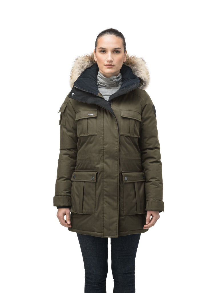 Women's down filled thigh length parka with four pleated patch pockets and an adjustable waist in CH Army Green| color