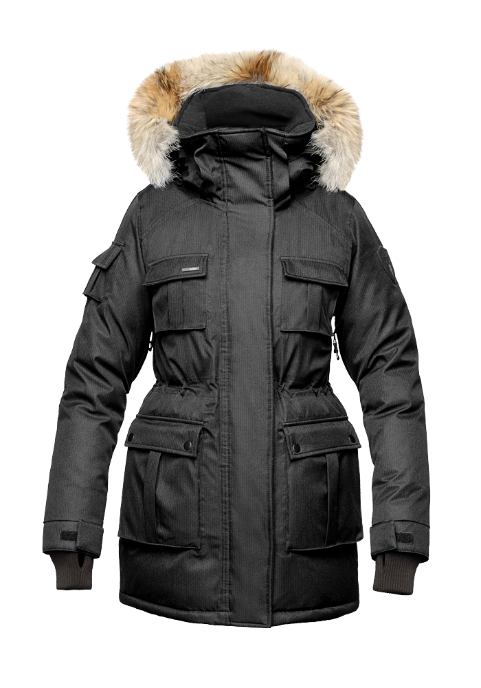 Women's down filled thigh length parka with four pleated patch pockets and an adjustable waist in CH Black | color