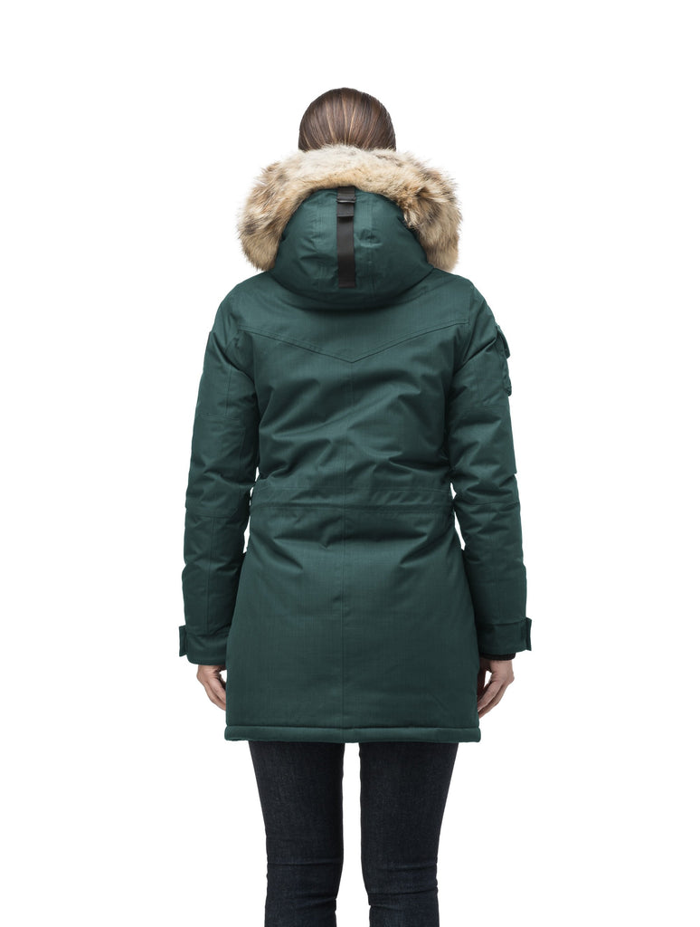 Women's down filled thigh length parka with four pleated patch pockets and an adjustable waist in CH Forest| color