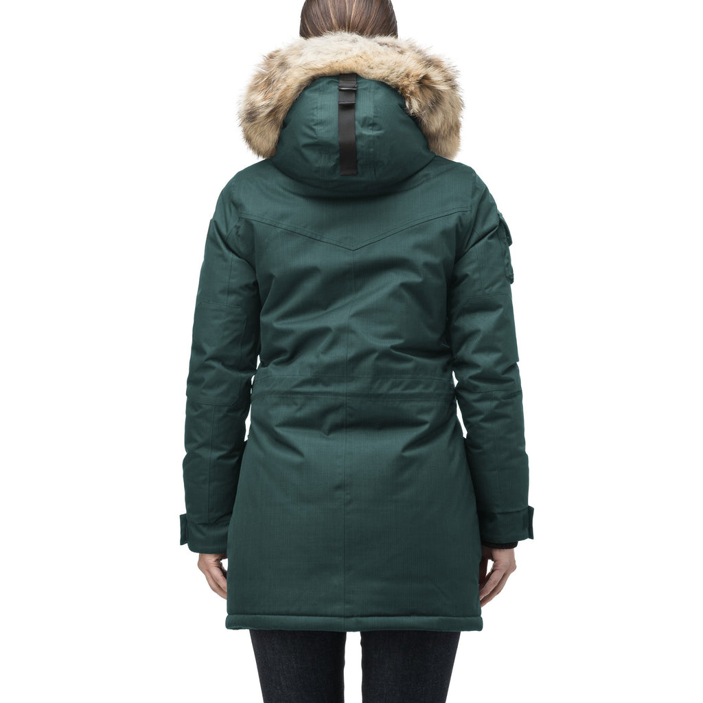 Women's down filled thigh length parka with four pleated patch pockets and an adjustable waist in CH Forest | color