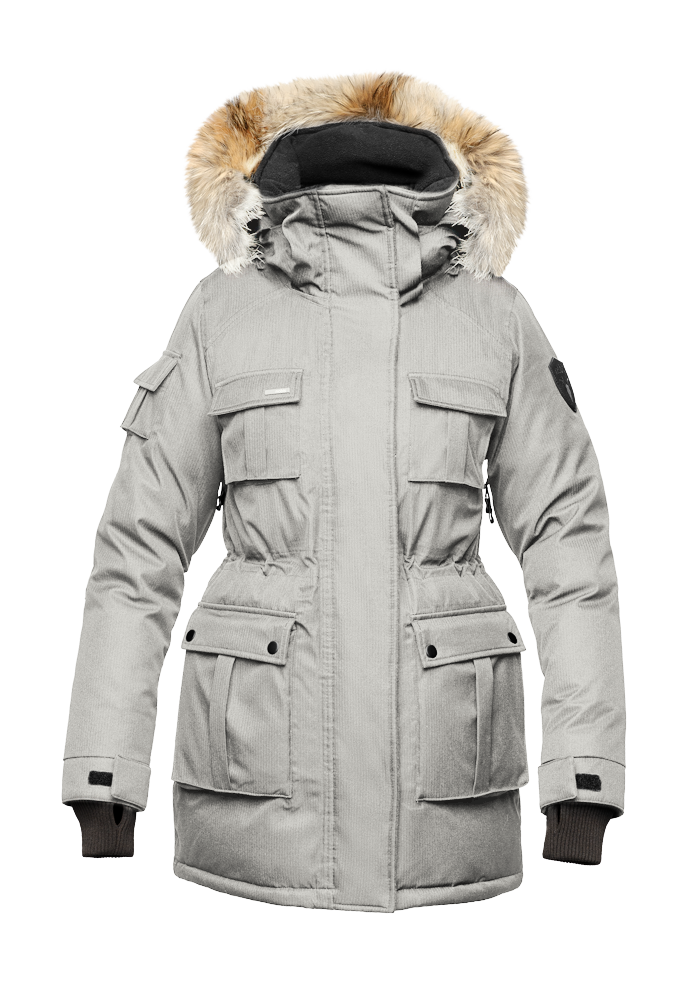 Women's down filled thigh length parka with four pleated patch pockets and an adjustable waist in CH Light Grey | color