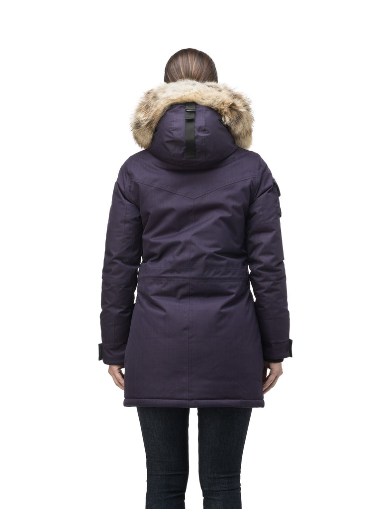 Women's down filled thigh length parka with four pleated patch pockets and an adjustable waist in CH Purple| color
