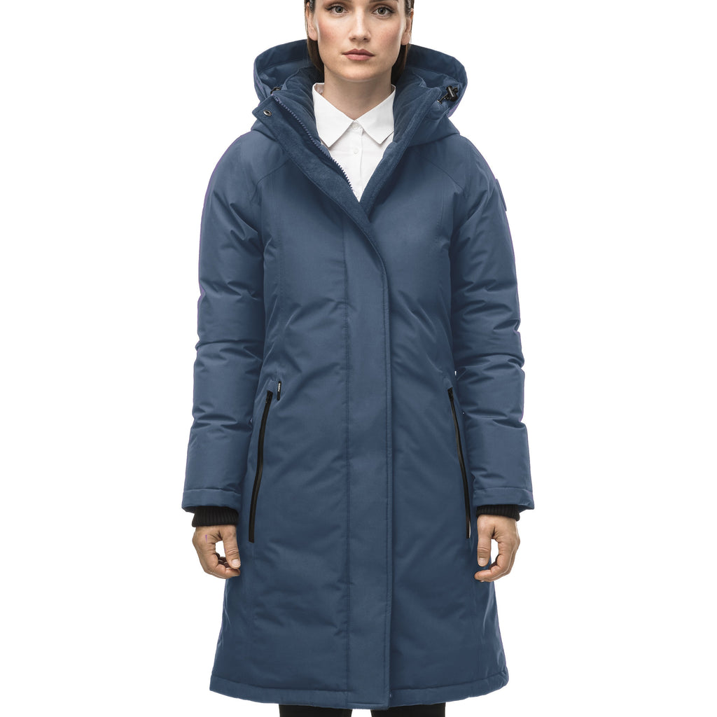 Minimalist down filled women's parka with fur free attached hood in Marine | color