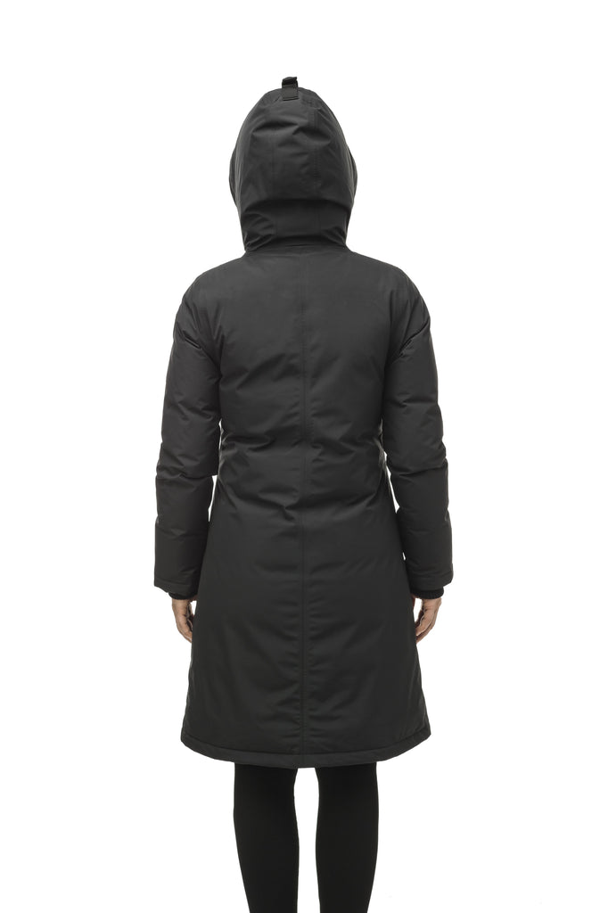 Minimalist down filled women's parka with fur free attached hood in Black| color
