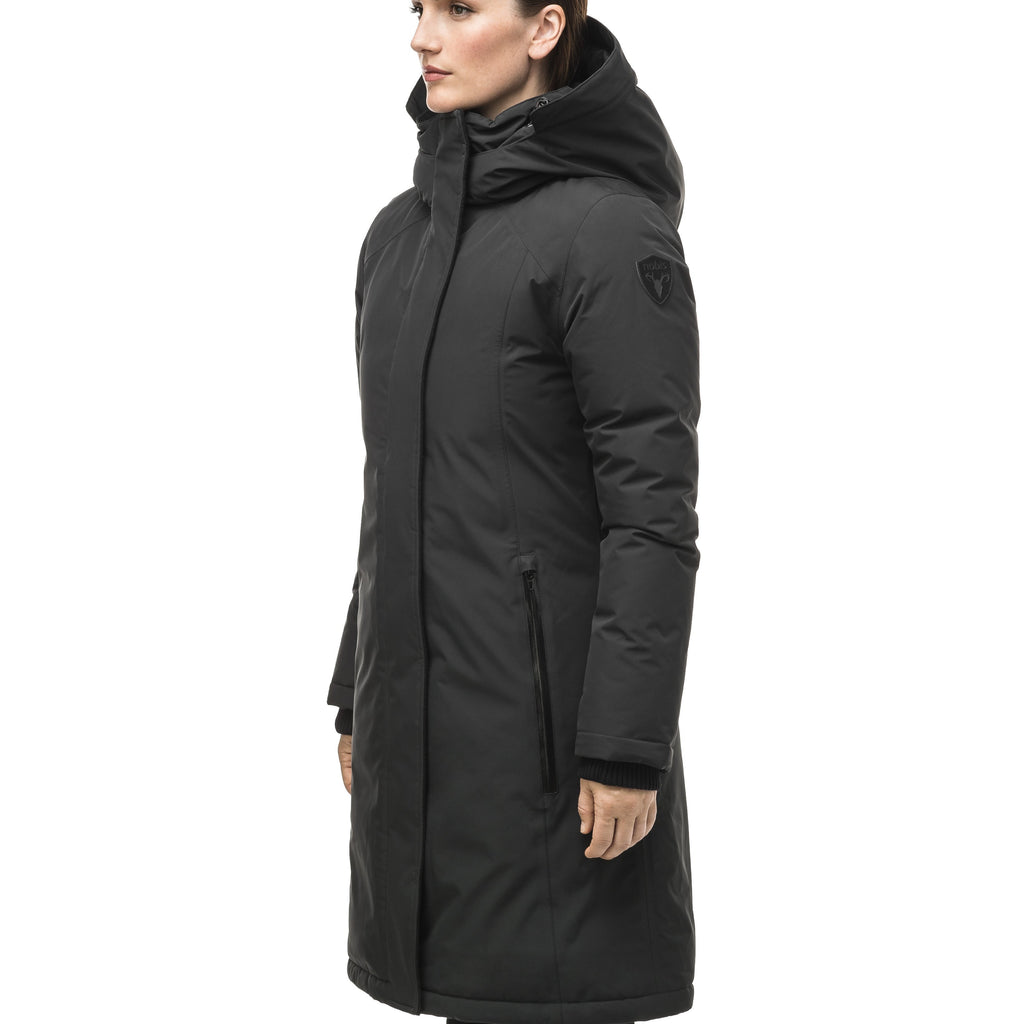 Minimalist down filled women's parka with fur free attached hood in Black | color