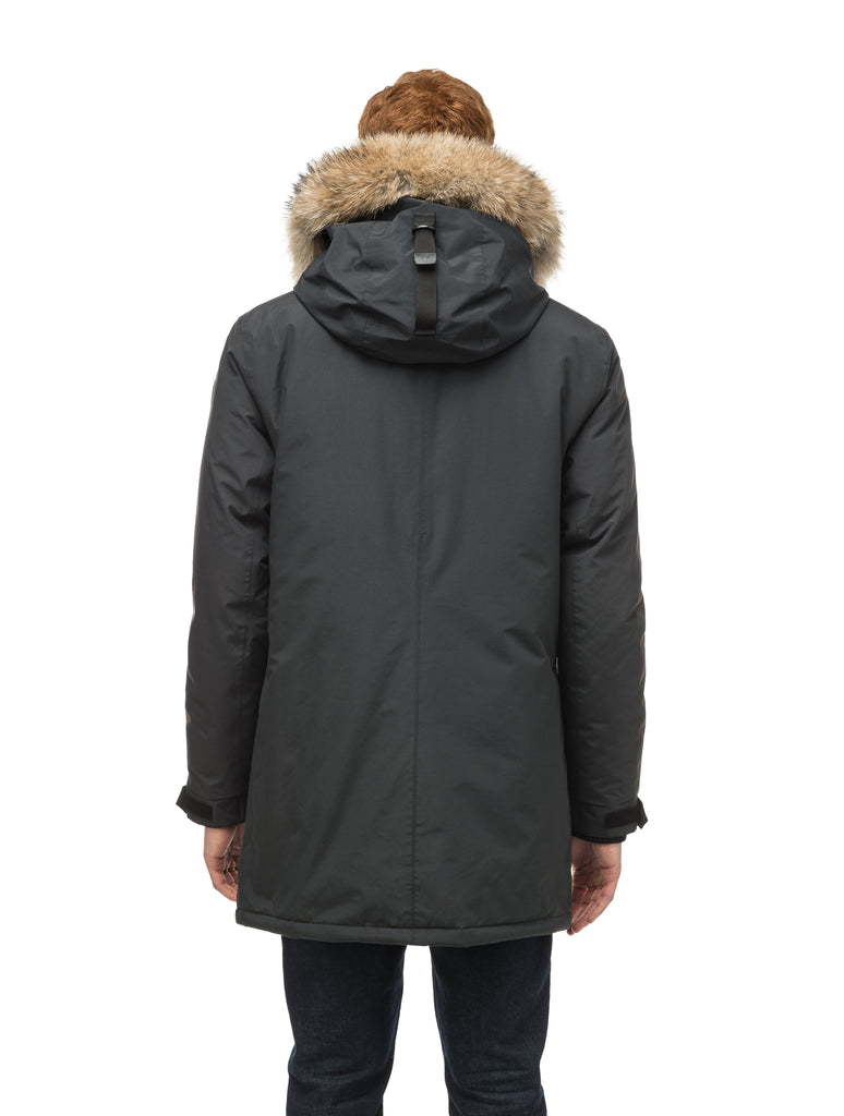 Lightweight men's parka with duck down fill and removable fur trim around the hood in Black| color