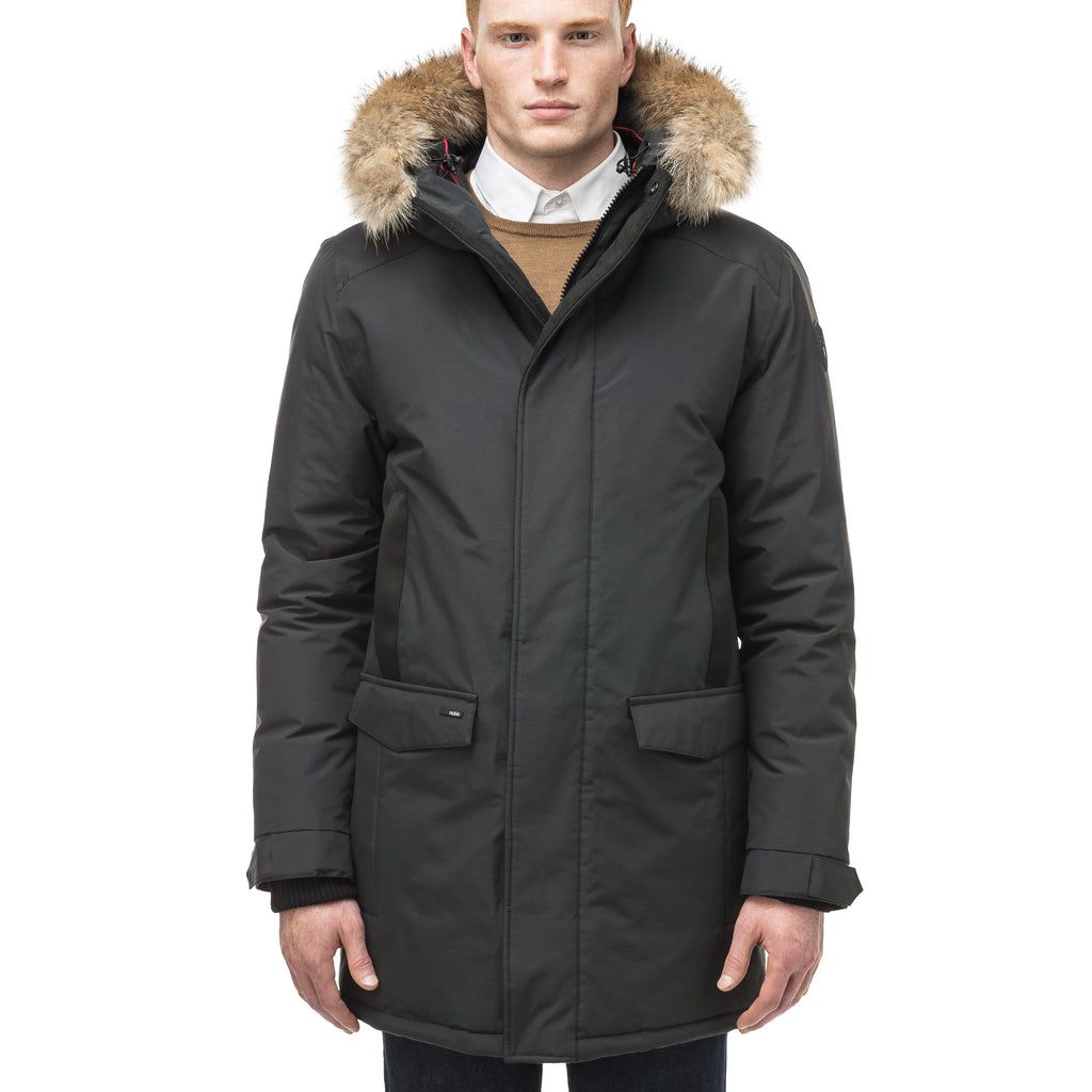 Lightweight men's parka with duck down fill and removable fur trim around the hood in Black | color