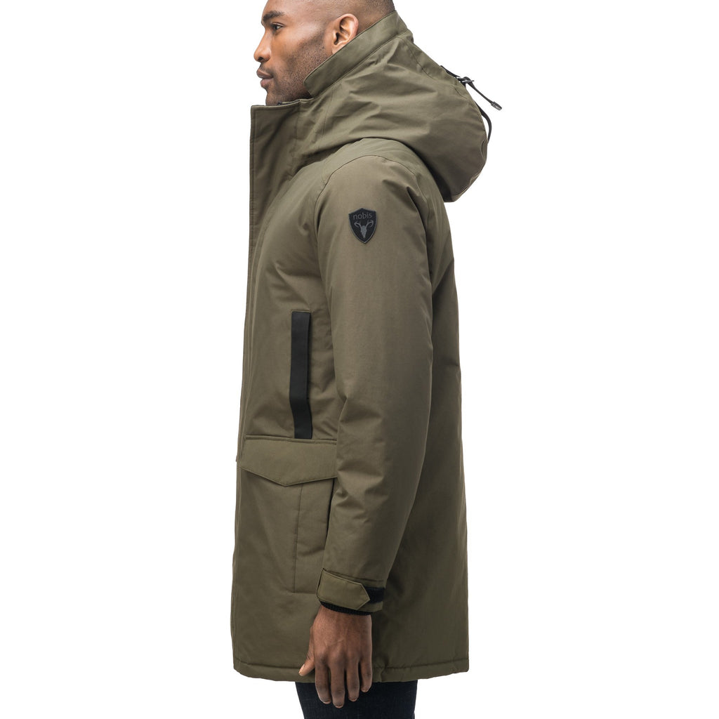 Lightweight men's parka with duck down fill and removable fur trim around the hood in Fatigue | color