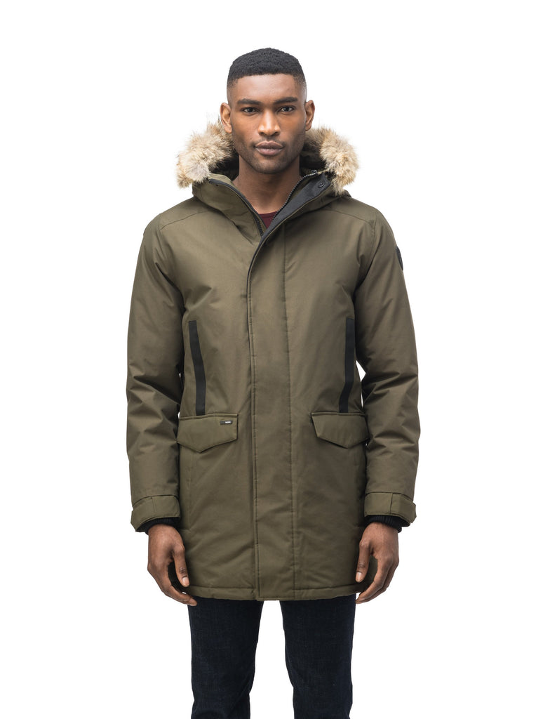 Lightweight men's parka with duck down fill and removable fur trim around the hood in Fatigue| color