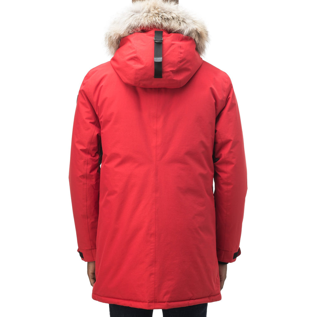 Lightweight men's parka with duck down fill and removable fur trim around the hood in Vermillion | color